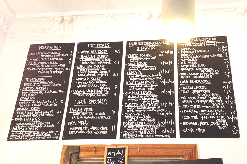 Menu on wall Dairy